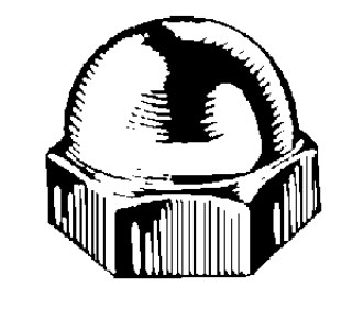1/4-20 x 7/16 Steel Acorn Cap Nut – Nickel 50 pcs.